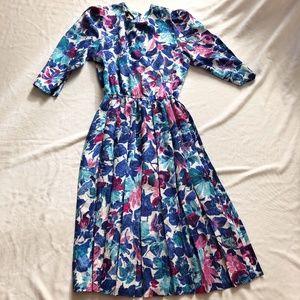 Vintage midi dress floral blue 80's style
